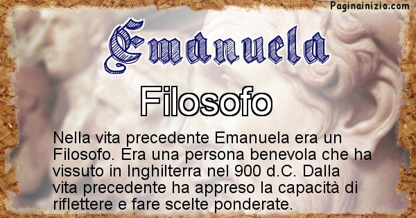 Emanuela - Chi era nella vita precedente Emanuela