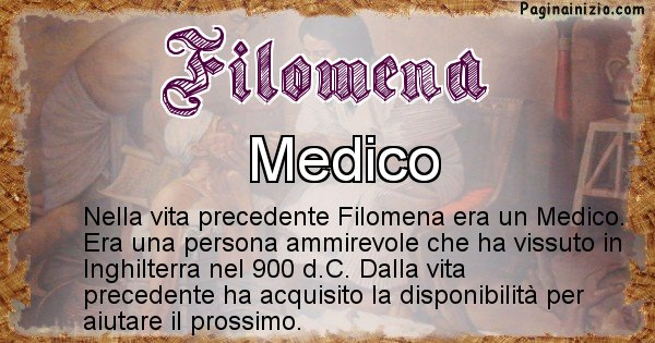 Filomena - Chi era nella vita precedente Filomena