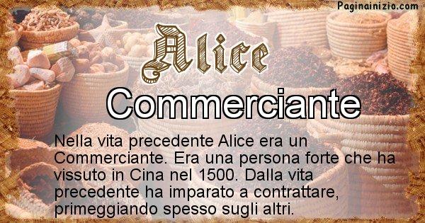 Alice - Vita precedente analizzando il cognome Alice