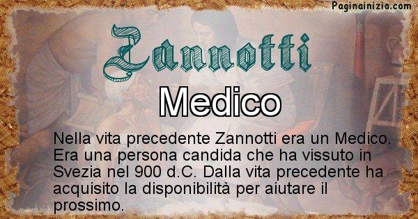 Zannotti - Vita precedente analizzando il cognome Zannotti
